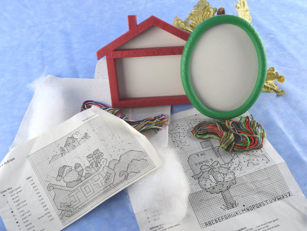 2 Quick Christmas Cross Stitch Kits with Frames - Chaseybluevintage
