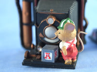 2 Vintage Camera Ornaments with Mouse Helpers for Christmas - Chaseybluevintage