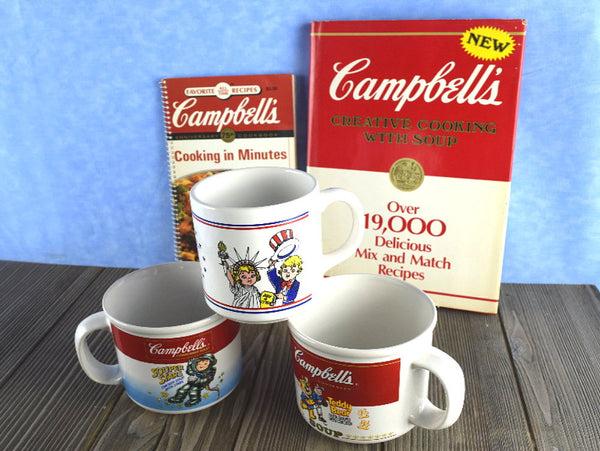 3 Vintage Campbell Soup Mugs Teddy Bear Souper Stars Plus 2 Campbell's Recipe Books Chaseybluevintage