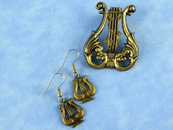 Vintage Musical Lyre Harp Pin and Dangling Pierced Earring Set - Chaseybluevintage