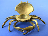 Vintage Brass Crab Ashtray Hinged Lid Nautical Ash Tray - Chaseybluevintage