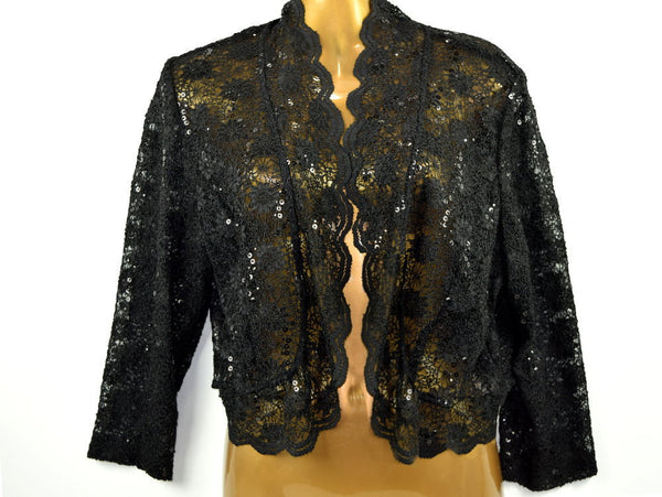 Vintage Black Lace Sequin Bolero Evening Jacket has Scallop Edge with Tags Size L - Chaseybluevintage