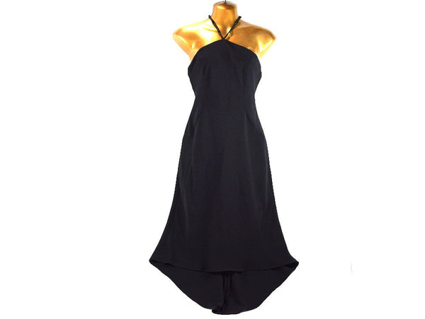 Vintage Black Halter Evening Dress with Long Beaded Tie and Train in Back Size 4 - Chaseybluevintage