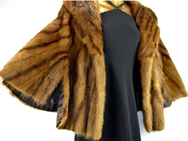 Vintage Mink Fur Cape with Fashionable Wide Lapel Collar 1960s Womens Coat Poncho Tippet Stole Chaseybluevintage