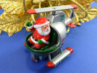 Vintage Christmas Ornament Santa in his Holly Copter Helicopter Chaseybluevintage