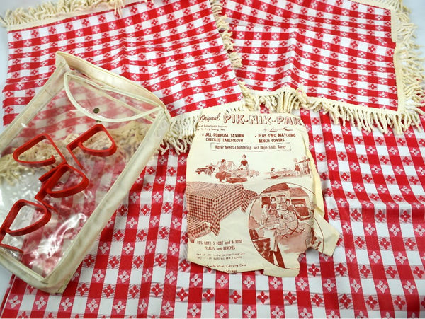 Mid Century Heavy Vinyl Picnic Set Tablecloth 2 Fringed Bench Covers Tote Plus 4 Brackets - Chaseybluevintage