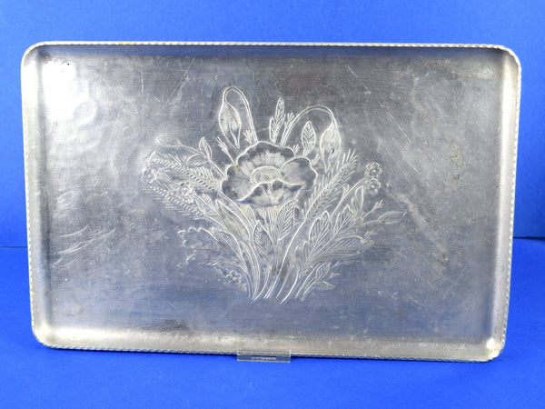 Vintage Hand Forged Aluminum Serving Tray Hammered Metal 1950s Floral Art Design - Chaseybluevintage