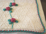 Vintage Hand Crocheted Afghan Throw 3D Burgundy Roses on White - Chaseybluevintage