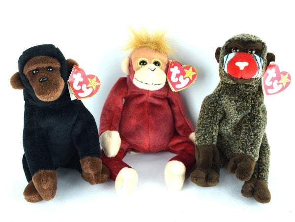 3 Vintage Ty Monkeys Beanie Babies Toy Stuffed Animals Congo Schweetheart Cheeks - Chaseybluevintage