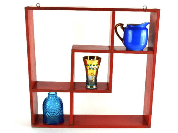 Mid Century Wood Whatnot Shelf Interlocking Wood Squares Painted Red - Chaseybluevintage
