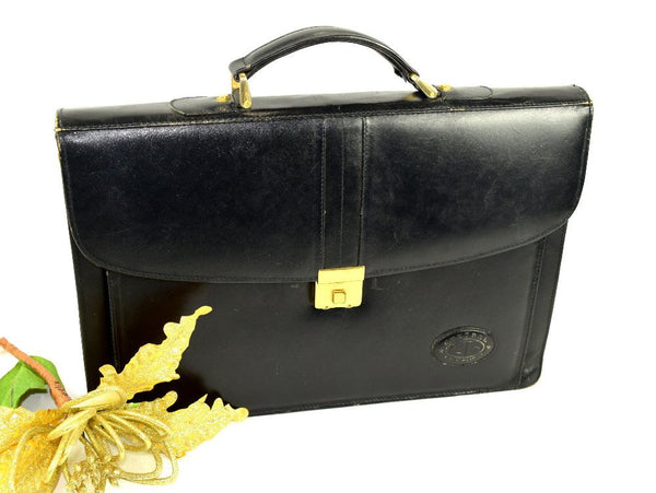 Vintage 60s Black Leather Briefcase Document Case Messenger Bag Satchel Attache - Chaseybluevintage