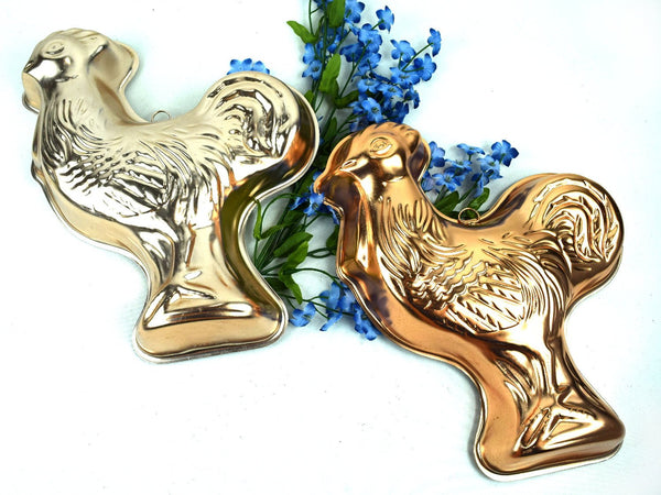 Vintage Chicken Rooster Jello Molds Aluminum Wall Hanging Grouping  Chaseybluevintage