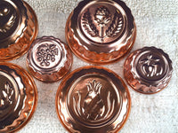 7 Vintage Pink Copper Aluminum Jello Molds Round Dessert Mold Kitchen Wall Decor Grouping Chaseybluevintage