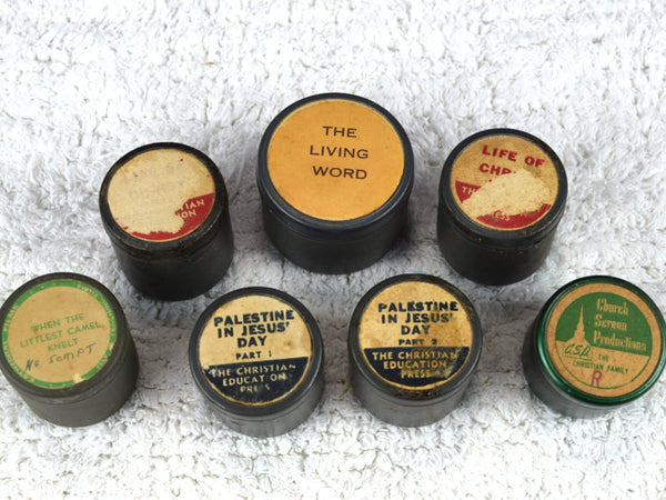 7 Vintage Tin Film Canisters with Film Inside Industrial Decor Lot of Tins - Chaseybluevintage