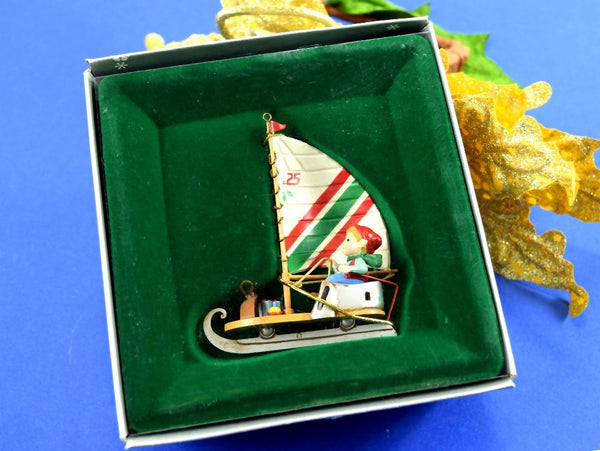 Vintage Elf Sailing Christmas Ornament Little Sailor Elf in Original Box
