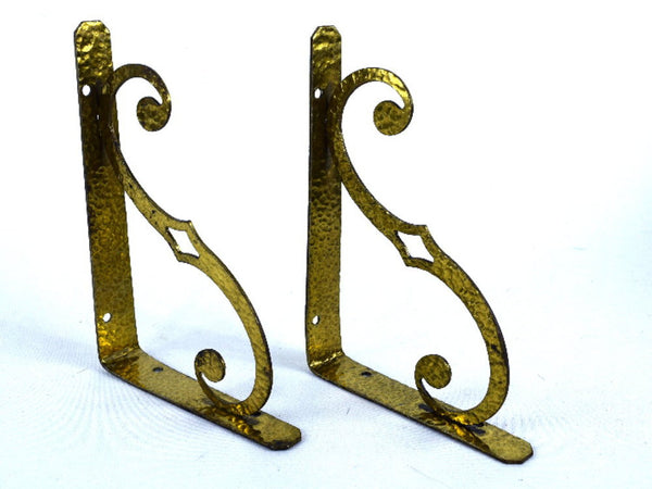 Vintage Brass Shelf Brackets Hammered Metal Wall Decor Chaseybluevintage