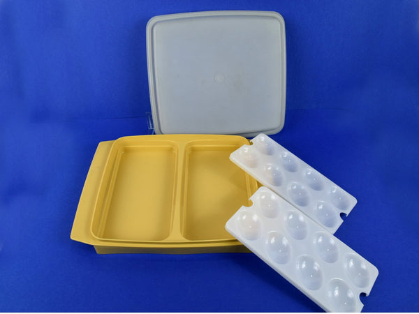 Vintage Tupperware Deviled Egg Serving Tray Dual Purpose Storage in Gold Chaseybluevintage