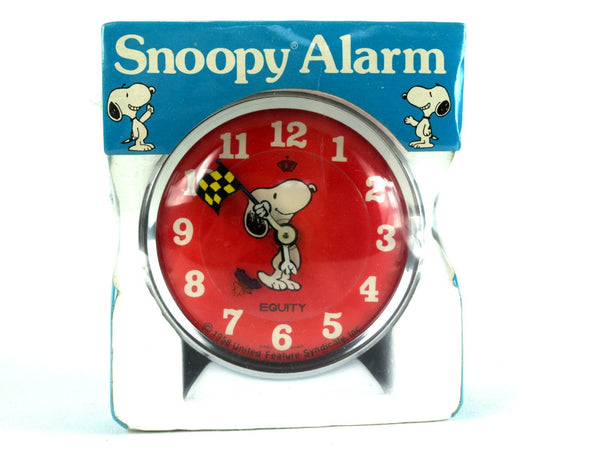 Vintage Snoopy Alarm Clock Peanuts Gang Checkered Flag Woodstock Racing Wind Up Equity Clock New Old Stock Factory Sealed - Chaseybluevintage