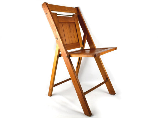 Mid Century Adult Size Wooden Slatted Folding Chair in Original Finish Chaseybluevintage