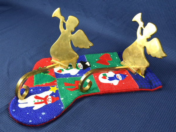 Vintage Brass Angel Stocking Holder Christmas Stocking Hanger for Mantle Angel Blowing Trumpet