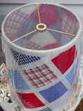 Lamp Shade Red White Blue Patchwork - ChaseyBlueVintage