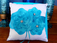 Ring Bearer Pillow Has Teal Flower Petals with Rhinestone Centers - ChaseyBlueVintage