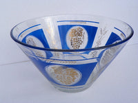 Vintage Large Serving Bowl in Royal Blue and Gold by Hazel Atlas Glass - ChaseyBlueVintage