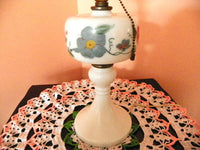 Milk Glass Mantle Lamp 1950s Accent Table Lamp - ChaseyBlueVintage