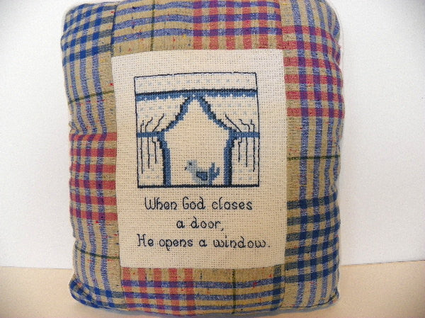 Cross Stitch Travel Size Accent Pillow Inspirational Religious Saying - ChaseyBlueVintage