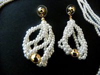 Vintage Bridal Set Faux Pearl and Gold Bead Necklace with Matching Earrings - ChaseyBlueVintage