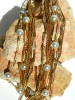 Vintage Multi Strand Gold Tone and Faux Pearl Beaded Chain Necklace - ChaseyBlueVintage