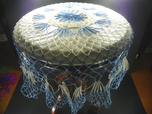 Vintage Crocheted Blue and White Doily Round Table Cover - ChaseyBlueVintage