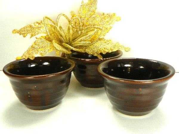 3 Monmouth Western Pottery Salso Bowls Brown - ChaseyBlueVintage