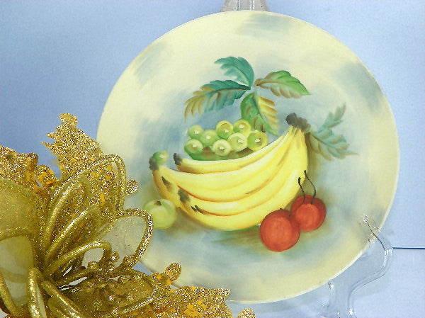 Vintage Lefton Plate Hand Painted Yellow Banana Plate with Red Label - ChaseyBlueVintage