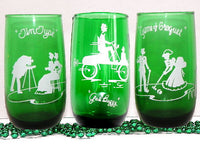 Vintage Emerald Green Drinking Glasses with Turn Of The Century Theme - ChaseyBlueVintage