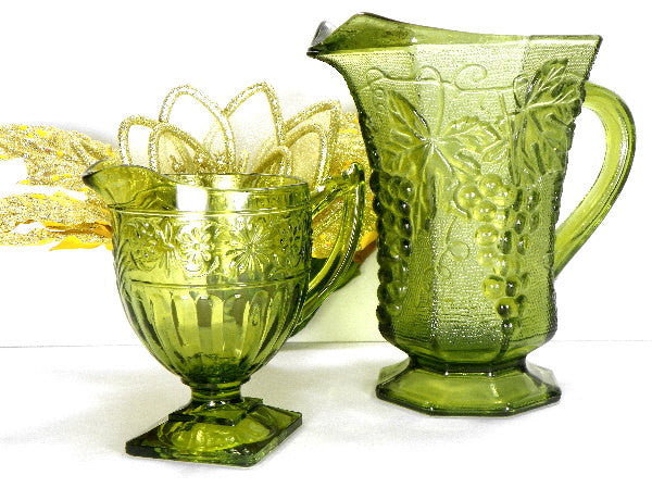 Vintage Green Serving Pitchers Mismatched Water Pitcher and Creamer - ChaseyBlueVintage