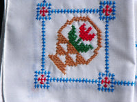 8 Matching Linen Napkins French Country Cross Stitched Tulip Basket Design - ChaseyBlueVintage