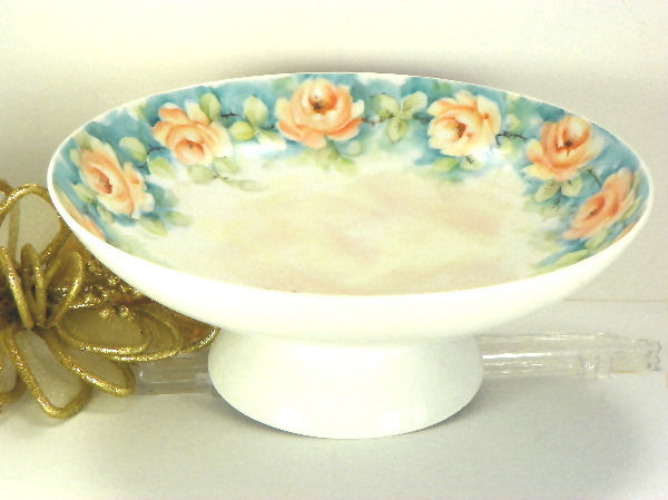 Vintage Porcelain Bowl Hand Painted Roses with Mother of Pearl Finish - ChaseyBlueVintage