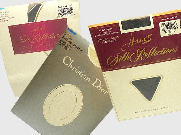 3 Pair of Pantyhose Christian Dior Hanes Navy Black White New Old Stock - ChaseyBlueVintage