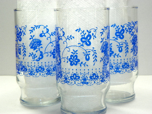 Set of 10 Vintage Blue Daisy Drinking Glasses Tumblers by Libbey - ChaseyBlueVintage