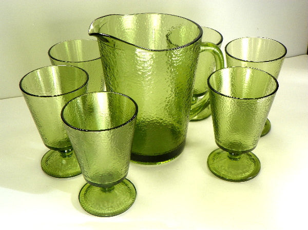 Textured Olive Green Glass Pitcher with 6 Matching Glasses Large Vintage Set - ChaseyBlueVintage