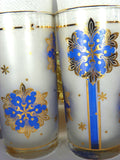 8 Festive Blue Drinking Glasses Intricate Gold Design Vintage Holiday Glassware - ChaseyBlueVintage