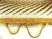 Gold and White Beaded Evening Bag Purse Herring Bone - ChaseyBlueVintage