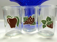 3 Bama Jelly Jars Juice Glasses with Burgundy and Green Fruit Design - ChaseyBlueVintage