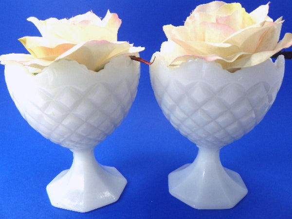 2 Diamond Pattern Versatile Compotes Wedding Table Decor Napco Milk Glass - ChaseyBlueVintage