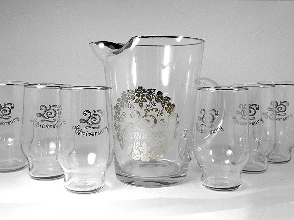 25th Silver Anniversary Pitcher with 6 Matching Drinking Glasses - ChaseyBlueVintage