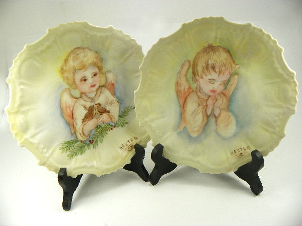 Vintage Angel Plates Boy and Girl Porcelain Signed by Artist - ChaseyBlueVintage