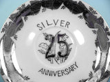 25th Anniversary Tea Cup and Saucer Platinum Silver Detail - ChaseyBlueVintage