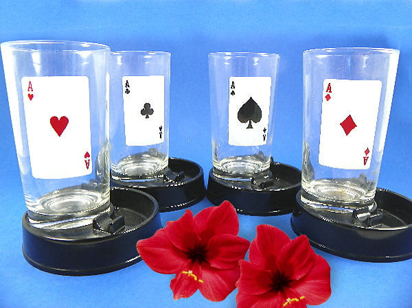 Playing Cards Glassware with Ashtray Coasters 1960s 4 Aces Game Night - ChaseyBlueVintage