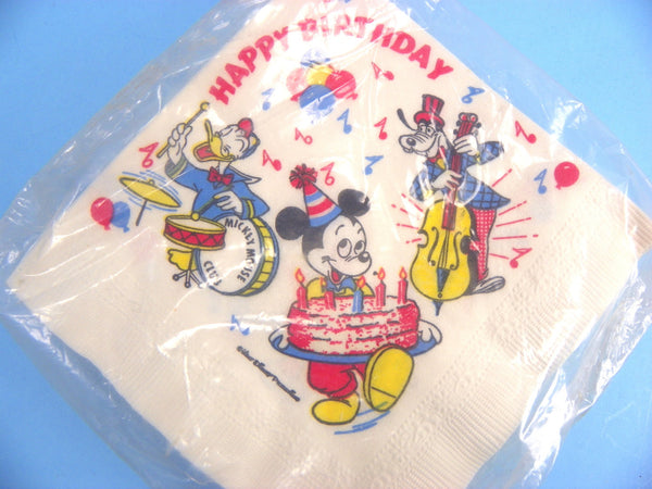 Vintage Mickey Mouse Paper Napkins Happy Birthday Musical Walt Disney - ChaseyBlueVintage